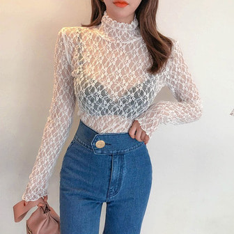 Dabagirl Lace Mock Neck Blouse