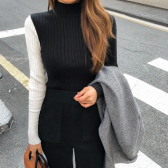 Dabagirl Mock Neck Contrast Sleeve Knit Top