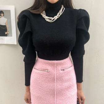 Dabagirl Leg-of-Mutton Sleeve Knit Top