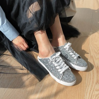 Dabagirl Glittered Lace-Up Sneakers