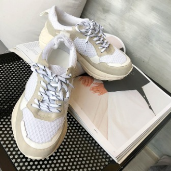 Dabagirl Thick Sole Paneled Lace-Up Sneakers