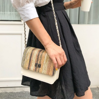 Dabagirl Woven Flap Chain-Accented Strap Bag