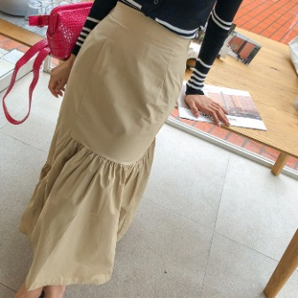Dabagirl Gathered Solid Tone Long Skirt