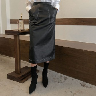 Dabagirl Contrast Stitch Pleather Skirt