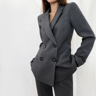 Dabagirl Tapered Waist Peak Lapel Jacket