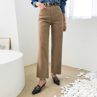 Dabagirl Frayed Hem Straight-Cut Pants