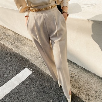 Dabagirl Chain Accent Pleated Slacks