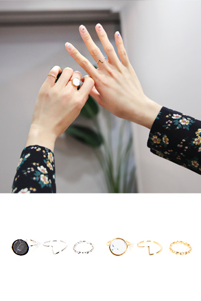 Dabagirl [SET] Three-Piece Closed Band Ring Set
