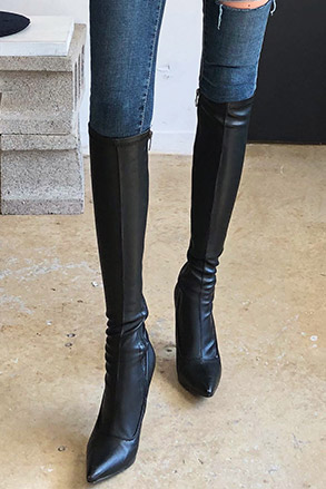 Dabagirl Pointed Toe Knee High Boots