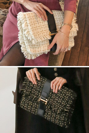 Dabagirl Frayed Tweed Clutch