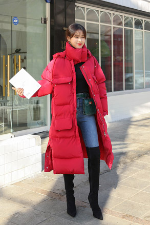 Dabagirl Hooded Midi Puffer Coat