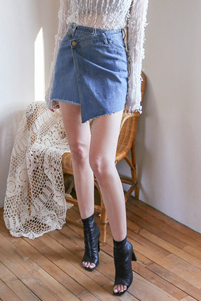 Dabagirl Asymmetrical Hem Denim Wrap Skirt