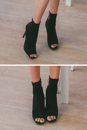 Dabagirl Open Toe Faux Suede Ankle Boots