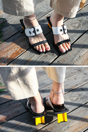 Dabagirl Buckled Strap Heeled Slippers