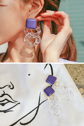 Dabagirl Contrast Color Drop Earrings