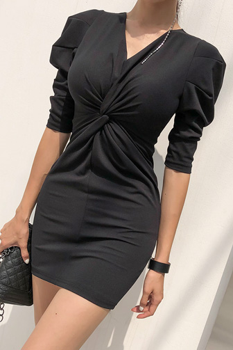 Dabagirl Twist Front Bodycon Dress